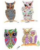 Shirley's watercolor paintings of owls on note cards.